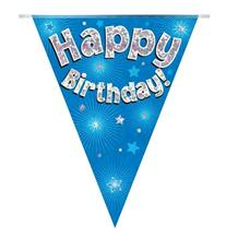 Blue Star Happy Birthday Foil Flag | Bunting Banner | Decoration