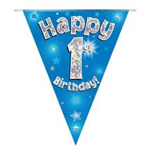 Blue Star Happy 1st Birthday Foil Flag | Bunting Banner | Decoration