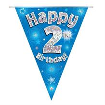Blue Star Happy 2nd Birthday Foil Flag | Bunting Banner | Decoration