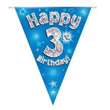 Blue Star Happy 3rd Birthday Foil Flag | Bunting Banner | Decoration