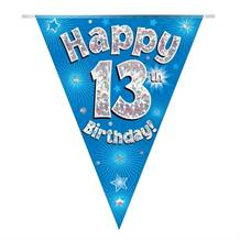 Blue Star Happy 13th Birthday Foil Flag | Bunting Banner | Decoration
