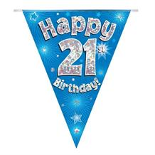 Blue Star Happy 21st Birthday Foil Flag | Bunting Banner | Decoration