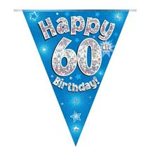 Blue Star Happy 60th Birthday Foil Flag | Bunting Banner | Decoration