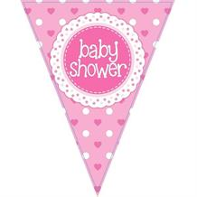 Pink Polka Dot Baby Shower Foil Flag | Bunting Banner | Decoration