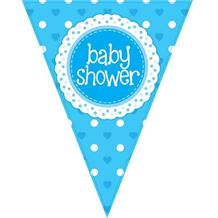 Blue Polka Dot Baby Shower Foil Flag | Bunting Banner | Decoration