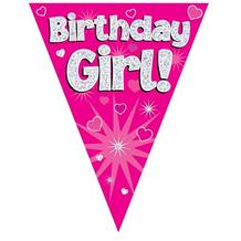 Pink Heart Birthday Girl Foil Flag | Bunting Banner | Decoration
