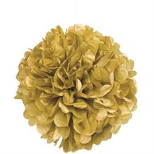 "Gold 16"" Puff Ball Party Hanging Decorations"