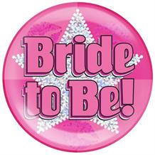 Hen Party Bride to Be Silver Star Jumbo Badge