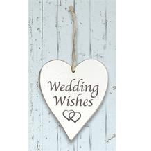 Wooden Heart Whitewash Wedding Wishes Hanging Heart Decoration