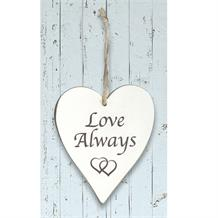 Wooden Heart Whitewash Love Always Hanging Heart Decoration