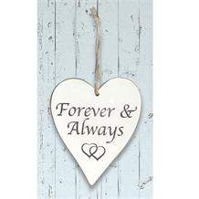 Wooden Heart Whitewash Forever and Always Hanging Heart Decoration