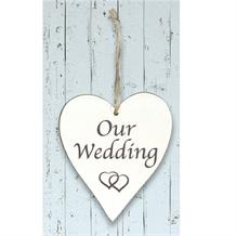 Wooden Heart Whitewash Our Wedding Hanging Heart Decoration