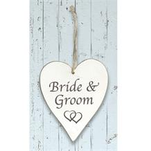 Wooden Heart Whitewash Bride and Groom Hanging Heart Decoration