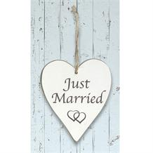 Wooden Heart Whitewash Just Married Hanging Heart Decoration