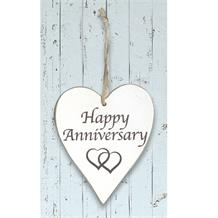 Wooden Heart Whitewash Happy Anniversary Hanging Heart Decoration