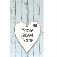 Wooden Heart Whitewash Home Sweet Home Hanging Heart Decoration