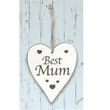 Wooden Heart Whitewash Best Mum Hanging Heart Decoration