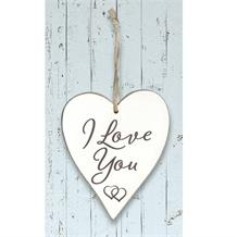 Wooden Heart Whitewash I Love You Hanging Heart Decoration