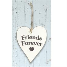 Wooden Heart Whitewash Friends Forever Hanging Heart Decoration