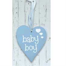 Wooden Heart Blue Baby Boy Hanging Heart Decoration