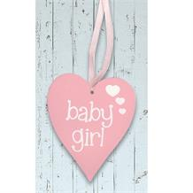 Wooden Heart Pink Baby Girl Hanging Heart Decoration