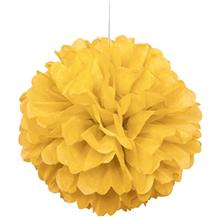 "Bright Yellow 16"" Puff Ball Party Hanging Decorations"