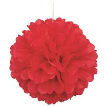 "Bright Red 16"" Puff Ball Party Hanging Decorations"