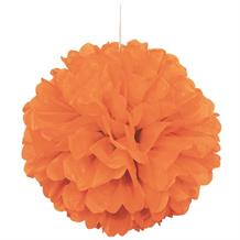 "Orange 16"" Puff Ball Party Hanging Decorations"