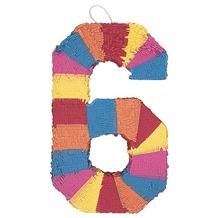 Number 6 Rainbow Design Pinata Party Game | Decoration