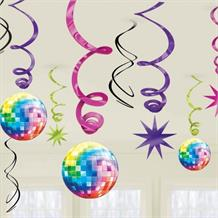1970's Disco Party Hanging Swirl Decorations