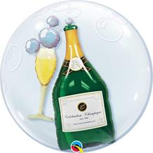 "Champagne Bottle | Glass 24"" Qualatex Double Bubble Party Balloon"