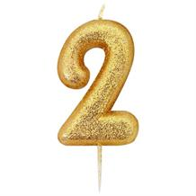 Gold Glitter Number 2 Birthday Cake Candle | Decoration