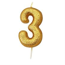 Gold Glitter Number 3 Birthday Cake Candle | Decoration