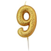 Gold Glitter Number 9 Birthday Cake Candle | Decoration
