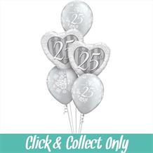 25th Silver Wedding Anniversary Inflated 5 Balloon Bouquet