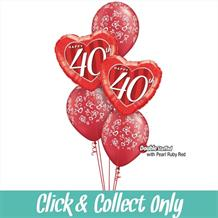 40th Ruby Wedding Anniversary Inflated 5 Balloon Bouquet