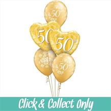 50th Golden Wedding Anniversary Inflated 5 Balloon Bouquet