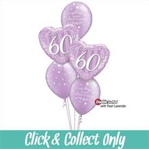 60th Diamond Wedding Anniversary Inflated 5 Balloon Bouquet