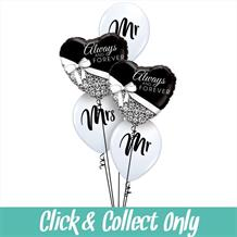 Always and Forever Wedding Inflated 5 Balloon Bouquet