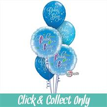 Baby Boy Holographic Inflated 5 Balloon Bouquet