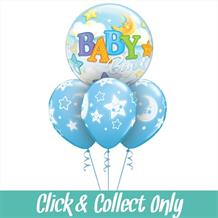 Baby Boy Moon and Stars Baby Shower Bubble Inflated 4 Balloon Bouquet