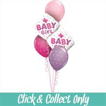 Baby Girl Butterfly Baby Shower Inflated 5 Balloon Bouquet