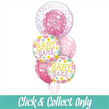 Baby Girl New Arrival Deco Bubble Inflated 5 Balloon Bouquet