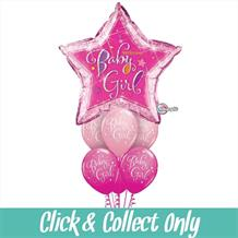 Baby Girl Giant Holographic Large Inflated 7 Balloon Bouquet