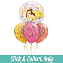 Beauty and the Beast Belle Bubble Inflated 4 Balloon Bouquet