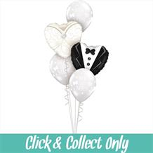 Wedding Dress and Tuxedo Inflated 5 Balloon Bouquet
