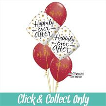 Happily Ever After Wedding Inflated 5 Balloon Bouquet