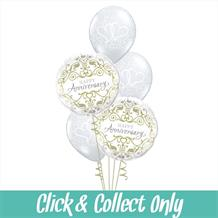 Happy Anniversary Gold Damask Inflated 5 Balloon Bouquet