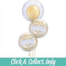 Happy Anniversary Damask Deco Bubble Inflated 3 Balloon Bouquet