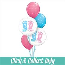 He or She Gender Reveal Baby Shower Inflated 5 Balloon Bouquet
